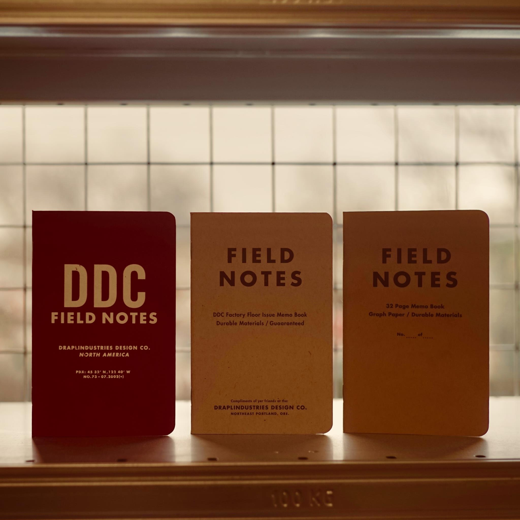 Field Notes Tenth Anniversary set, standing on a shelf