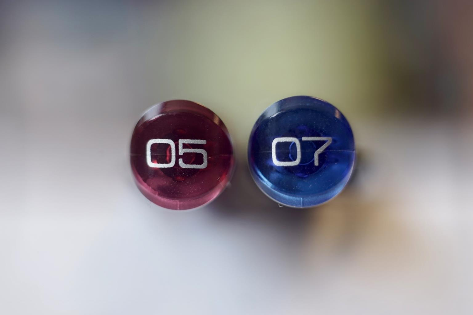 Mechanical Pencil Day - tops of pencils showing 05 and 07