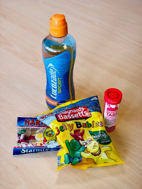 Some sugary snacks, needed to maintain sugar levels