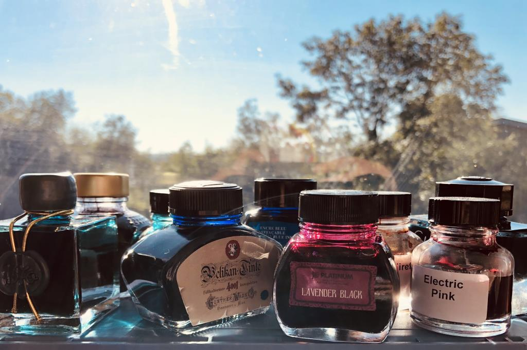 Ink bottles on a windowsill