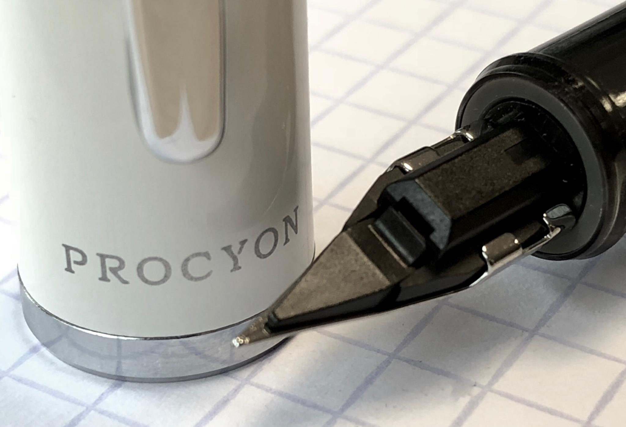 The underside of the nib of a Platinum Procyon fountain pen