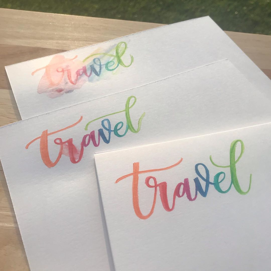 The word 'travel' in calligraphy, showing failed attempts behind the final version