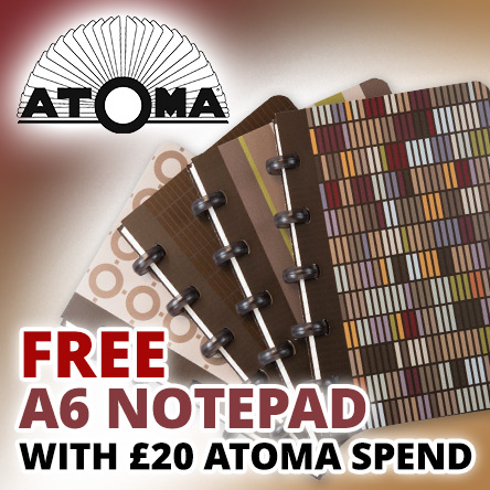 Free A6 notebook with £20 spend on Atoma