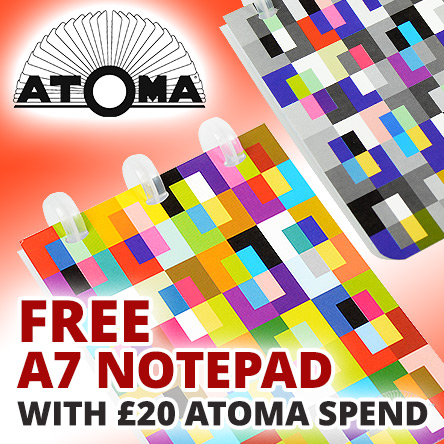 Free A7 Abstract notebook with £20 spend on Atoma