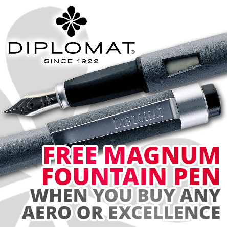 Free Magnum Fountain Pen with any Diplomat Aero or Excellence
