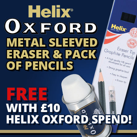 Free pencil and eraser pack with £10 spend on Helix
