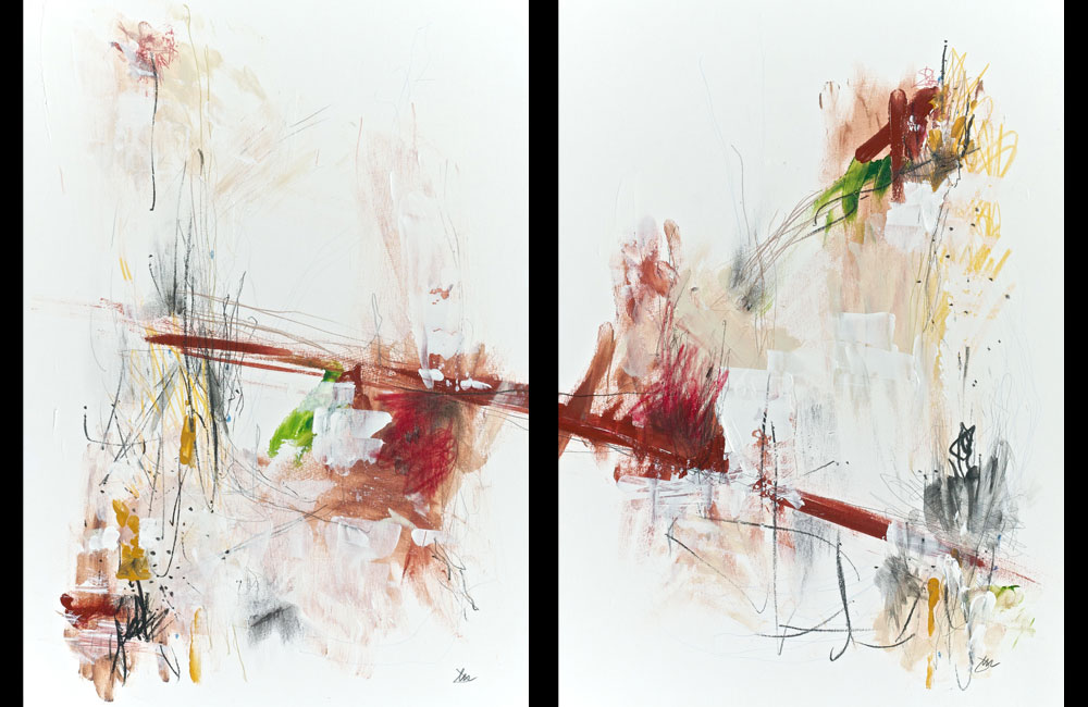 Same Mould, Similar Results - Diptych -Pencil, charcoal, acrylic and gouache on A3 Bristol paper - Jen Dixon