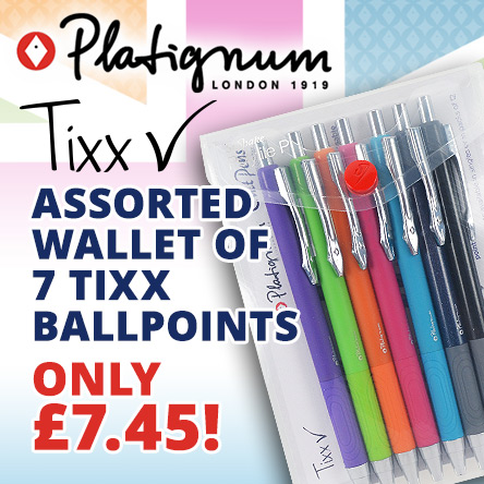 Assorted wallet of 7 Platignum Tixx Ballpoints for £7.45
