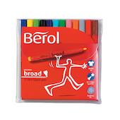 Berol Colourbroad Felt Pen Assorted Wallet of 12