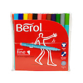 Berol Colourfine Felt Pen Assorted Wallet of 24
