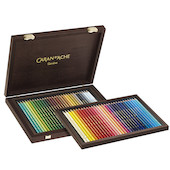 Caran d'Ache Supracolor Water Soluble Pencils Assorted Wooden Box of 60