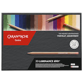 Caran d'Ache Luminance 6901 Professional Permanent Colour Pencil Box of 20 Portrait Colours