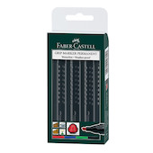 Faber-Castell Grip Marker Permanent Chisel Tip Wallet of 4