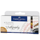 Faber-Castell Pitt Artist Pen Calligraphy Set of 6 Assorted