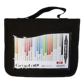 Graph'it Twin Tip Marker Pen Set of 24 with Wallet