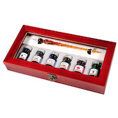 J. Herbin Glass Dip Pen Calligraphy Set with 6 Inks