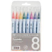Kuretake Zig Clean Color Real Brush Pen RB-6000A Basic Colour Set of 8