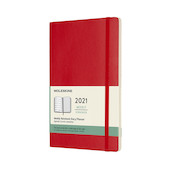 Moleskine Weekly Diary 2021 Softcover Large Scarlet Red