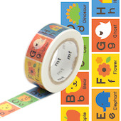 mt Washi Masking Tape for Kids - 15mm x 7m - Alphabet A-M