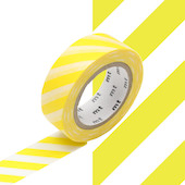 mt Washi Masking Tape 15mm x 10m Stripe Lemon