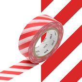 mt Washi Masking Tape 15mm x 10m Stripe Red
