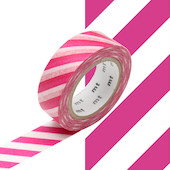 mt Washi Masking Tape 15mm x 10m Stripe Magenta