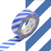 mt Washi Masking Tape 15mm x 10m Stripe Blue