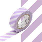 mt Washi Masking Tape 15mm x 10m Stripe Lilac 2
