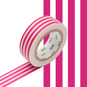 mt Washi Masking Tape 15mm x 10m Border Framboise