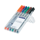 Staedtler Lumocolor Marker Pen non-permanent Superfine Wallet of 6