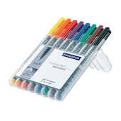 Staedtler Lumocolor Marker Pen Permanent Fine Wallet of 8