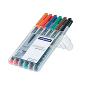 Staedtler Lumocolor Marker Pen Permanent Medium Wallet of 6