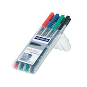 Staedtler Lumocolor Marker Pen Permanent Superfine Wallet of 4