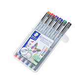 Staedtler 308 Coloured Pigment Liner 0.5 Assorted Deskset of 6 Set 1
