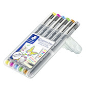 Staedtler 308 Coloured Pigment Liner 0.5 Assorted Deskset of 6 Set 2