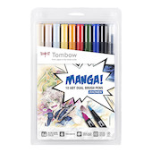Tombow ABT Dual Brush Pen Manga Shonen Set of 10