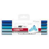 Tombow ABT PRO Dual Brush Pen Set of 5 Blue Colours