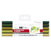 Tombow ABT PRO Dual Brush Pen Set of 5 Green Colours