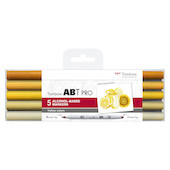 Tombow ABT PRO Dual Brush Pen Set of 5 Yellow Colours
