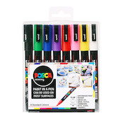 Uni POSCA Marker Pen PC-3M Fine Set of 8 Assorted