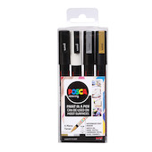 Uni POSCA Marker Pen PC-3M Fine Set of 4 Monotones