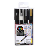 Uni POSCA Marker Pen PC-5M Medium Set of 4 Monotones