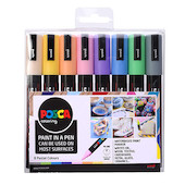 Uni POSCA Marker Pen PC-5M Medium Set of 8 Pastels
