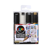 Uni POSCA Marker Pen PC-8K Broad Chisel Set of 4 Monotones