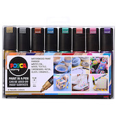 Uni POSCA Marker Pen PC-8K Broad Chisel Set of 8 Metallics