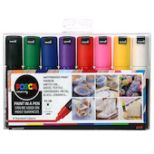 Uni POSCA Marker Pen PC-7M Broad Bullet Set of 8 Assorted