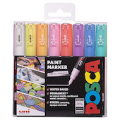 Uni POSCA Marker Pen PC-1M Extra-Fine Set of 8 Pastels