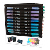 Docrafts Artiste Watercolour Dual Tip Pens & Caddy Set of 36 Brush & Fine