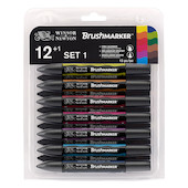 Winsor & Newton BrushMarkers Set of 12+1 Vibrant Tones