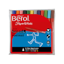 Berol Colourbroad Portrait Felt Pen Wallet of 12